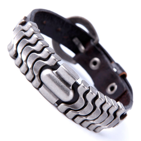 Urban Jewelry Powerful Dark Brown Leather Cuff Bracelet with Metal Design and Buckle Clasp (Adjustable)