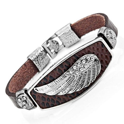 Mens Angels Wing Chocolate Brown Genuine Leather Cuff Bracelet (Silver Color)
