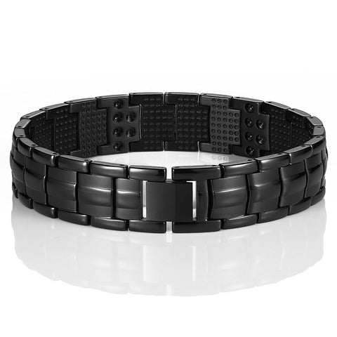 Urban Jewelry Men's Black Link Bangle Titanium Bracelet 8.66 inch Matches any Attire Perfect for a Gift