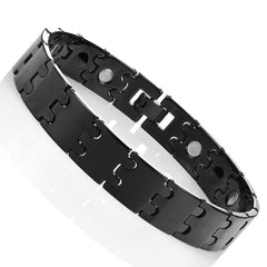 Unique Black Solid Tungsten Puzzle Pieces Style Mens 8.5 Inch Link Bracelet (Magnet, 13mm)