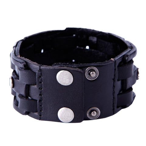 Urban Jewelry Gothic Men's Army Style Coal Black Cuff Genuine Leather Bracelet with Metal Silver Tone Screws