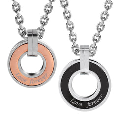 "Urban Jewelry Stunning 2pcs His & Hers Love Forever Couples Round Pendant Necklace Set with 19"" & 21"" Chain"