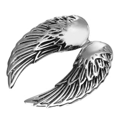 Urban Jewelry Stunning Stainless Steel Double Angel Wing Pendant and 21 Inch Necklace for Men