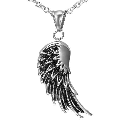 Urban Jewelry Vintage Men's Stainless Steel Angel Wing Pendant 21 Inch Chain (Black, Silver)