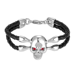 Bold Men's Biker Bracelet, Skull in a Stainless Steel Polished Silver Finish, Black Genuine Leather Rope Cord