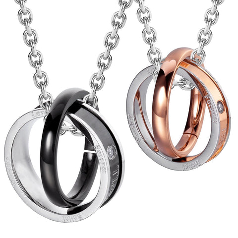 His & Hers Couples Engraved Double Ring Pendant Necklace