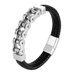 Dystopian Men's Bracelet – Black Leather Braided Rope Bracelet with Contemporary Bike Chains – Genuine Leather & Stainless Steel – Black & Polished Silver Color – Jewelry Gift or Accessory for Men