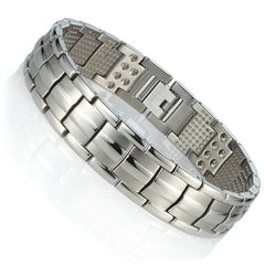 Urban Jewelry Men's Titanium Link Bangle Bracelet 8.66 inch Silver Tone