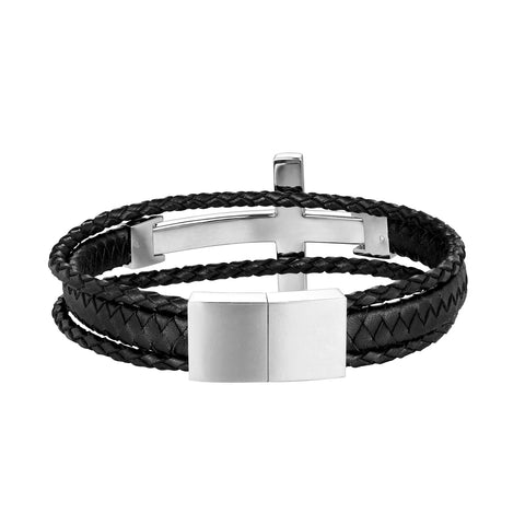 Urban Jewelry Trendy Men's Cross Bracelet – Lord's Cross in a Lustrous Gold or Silver Finish – Rust & Discoloration Resistant Stainless Steel Charm – Black Genuine Leather Rope Cord