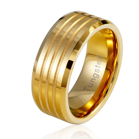 Urban Jewelry Striped Gold Color 9 mm Solid Tungsten Wedding Engagement Band Ring for Men