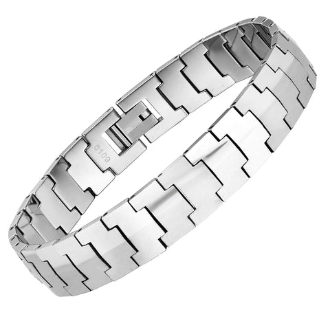 Mesmerizing Men's Bracelet – Interlocking Track Link Tread Design – Polished Silver Finish – Scratch &Tarnish Resistant Solid Tungsten – Jewelry Gift or Accessory for Men