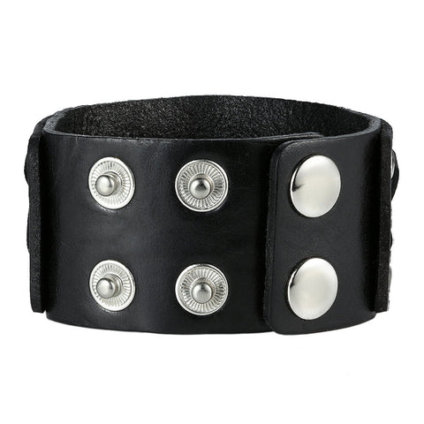 Urban Jewelry Black Genuine Leather Cuff Bangle Men's Bracelet Bold Punk Style (adjustable 8.25 inches)