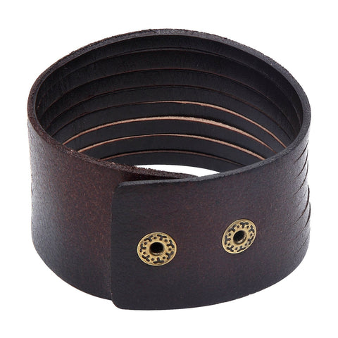 Urban Jewelry Dark Brown Wide Cuff Genuine Leather Bracelet for Men