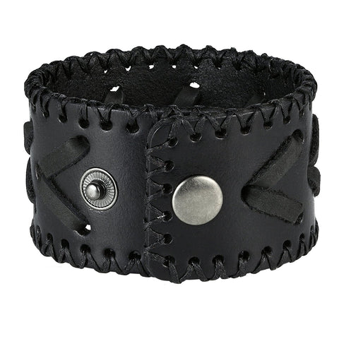 Men's Arrow Patterning Black Genuine Leather Cuff Bangle Bracelet (adjustable 8.3 inches, 1.6 inches width)