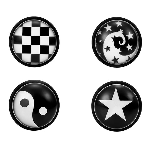 Mens 4 Pairs Stainless Steel Stud Earrings Set with Star, Swirl, Checkered and Yin & Yang Designs