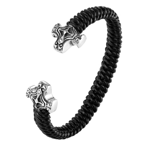 Stylish Men's Bracelet – Ornamental Cross Emblem in Black & Silver Color – Black Braided Rope Cord Band – Made of Genuine Leather & Rust Resistant Stainless Steel – Jewelry Gift or Accessory for Men
