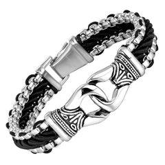 Contemporary Men's Bracelet – Metallic Bead Chain Design with Ornamental Round Link – Genuine Leather & Stainless Steel – Black & Polished Silver Color – Jewelry Gift or Accessory for Men
