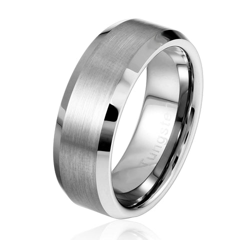Urban Jewelry Solid Tungsten Silver Color Wedding Engagement Ring Band for Men