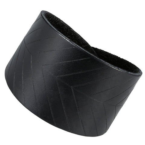 Urban Jewelry Leaf Shape Black Genuine Leather Cuff Men's Bracelet (adjustable 7.9 inches, Width 1.7 inches)