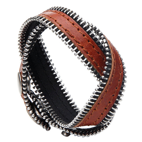 Urban Jewelry Zipper Style Brown Genuine Leather Wrap Cuff Bracelet for Men