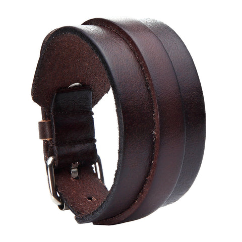 Urban Jewelry Stunning Adjustable Dark Brown Cuff Leather Bracelet for Men (Metal Buckle Clasp)