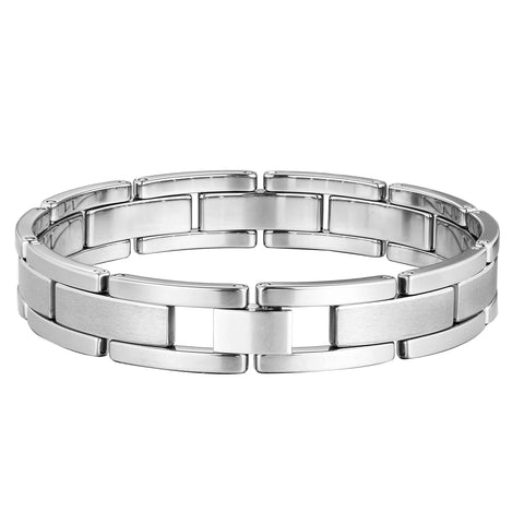 Stylish Men's Bracelet – Chain Link Design in a High Polish Silver Finish – Made of Strong & Durable Solid Tungsten Material – Jewelry Gift or Accessory for Men
