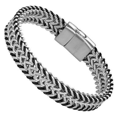 Handsome Men's Bracelet – Mesmerizing Silver Finish Foxtail Chain with Black Genuine Leather Detail – Rust & Discoloration Resistant Stainless Steel Chain – Jewelry Gift or Accessory for Men