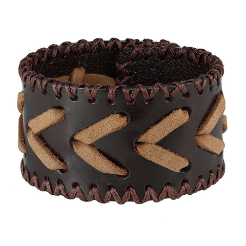 "Urban Jewelry Men's Arrow Patterning Brown Genuine Leather Cuff Bracelet (8.3"", 1.6"" width)"