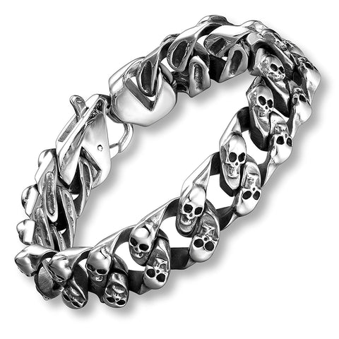 Urban Jewelry 8.6 Inches Stainless Steel Silver Tone Mini Skull Heads Link Chain Bracelet for Men
