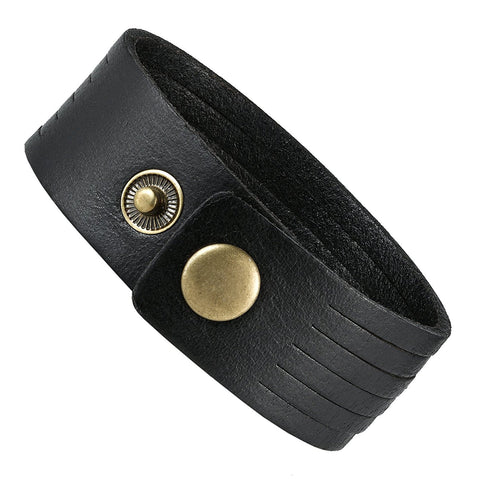 Urban Jewelry Black Genuine Leather Men's Cuff Bracelet Versatile and Durable (8.25 inches)