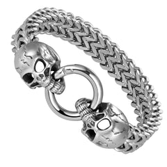 Bold Men's Biker Bracelet, Foxtail Chain with Skull Design, Stainless Steel Polished Silver Finish