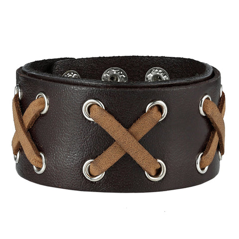 Urban Jewelry Uniquely Mixed Colors Black and Brown Genuine Leather Cuff Bangle Men's Bracelet (adjustable 8.25 inches)