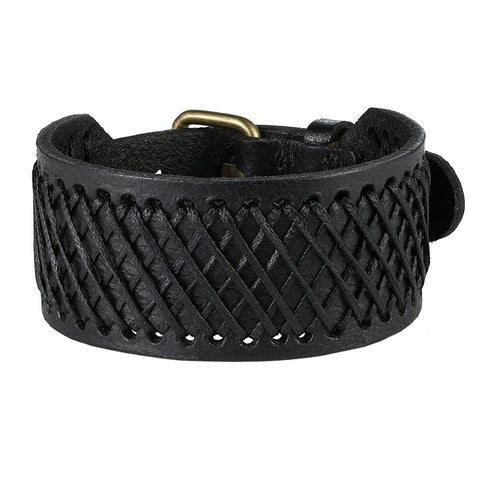 Urban Jewelry Black Genuine Leather Cuff Men's Bracelet Perfect as a Gift (adjustable 7.3 to 9.25 inches)