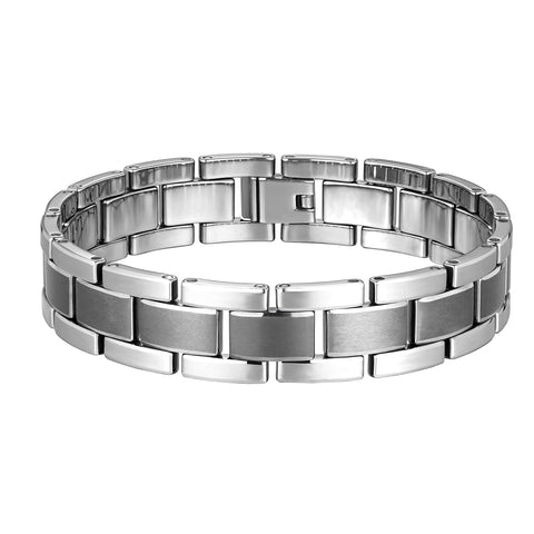 Bold Men's Bracelet – Interlocking Track Link Design in a Polished Silver Finish with Dark Grey Contrast – Scratch & Tarnish Resistant Tungsten – Jewelry Gift or Accessory for Men