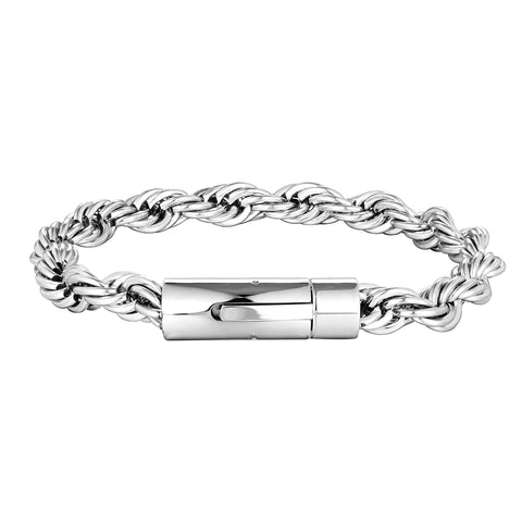 Luxe Men's Bracelet – Rope Chain Design in a Lustrous Silver Finish – Rust & Discoloration Resistant Stainless Steel – Jewelry Gift or Accessory for Men