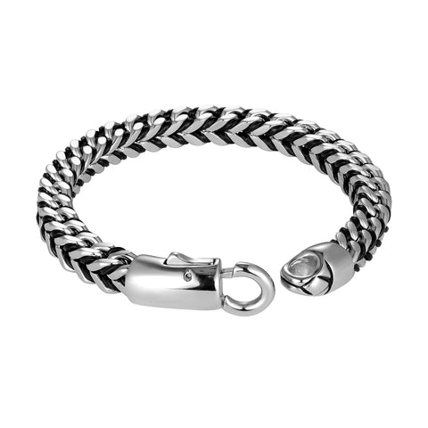 Mesmerizing Men's Bracelet – Contrasting Silver Finish Foxtail Chain with Intricate Black Genuine Leather Detail – Rust & Discoloration Resistant Stainless Steel Chain – Jewelry Gift for Men