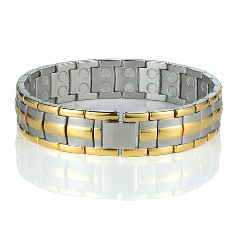 Urban Jewelry Men's Titanium Bracelet 8.66 inch Durable and Comfortable (Gold and Silver Tone)