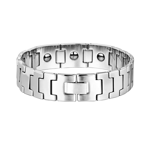 Dapper Men's Bracelet – Rugged Track Link Tread Design in a Polished Silver Finish – Scratch & Tarnish Resistant Tungsten – Jewelry Gift or Accessory for Men