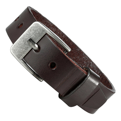 Men's Genuine Leather Cuff Bangle Bracelet Classic Urban Style (Brown, Silver, 6.3-8.25 inches)
