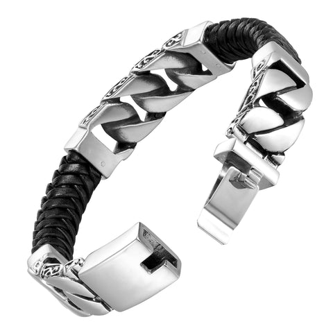 Dystopian Men's Bracelet – Black Leather Braided Rope Bracelet with Contemporary Gourmette Chains – Genuine Leather & Stainless Steel – Black & Polished Silver Color – Jewelry Gift or Accessory for Me