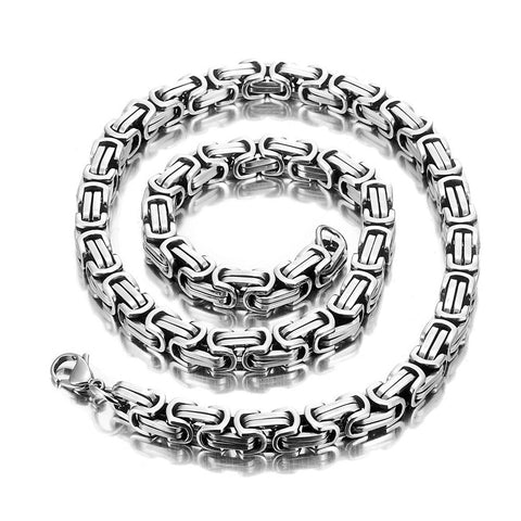 Impressive Mechanic Style Men's Necklace Stainless Steel Silver Chain, Width 6mm (18,21,23 Inches)