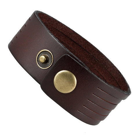 Urban Jewelry Brown Genuine Leather Men's Cuff Bracelet Durable and Classic (adjustable 8.25 inches)