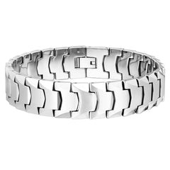 Suave Men's Bracelet – Interlocking Track Link Design in a Sleek Silver Finish – Scratch & Tarnish Resistant Tungsten – Jewelry Gift or Accessory for Men
