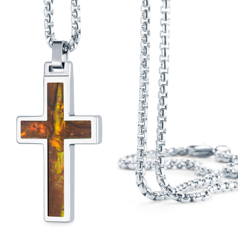 "Tungsten Men's Christian Necklace – Cross Pendant with Steel Chain 22"" – – Made of Polished Solid Tungsten, Carbon Fiber, and Amethyst Shell Material – 6 Designs and Colors to Choose - Gift for Him"