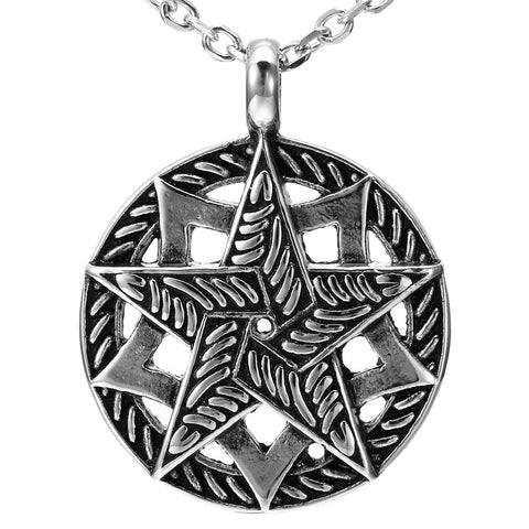Urban Jewelry Double Pentacle Pentagram Stainless Steel Pendant Necklace 21-inch chain (Black, Silver)