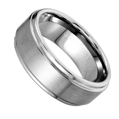 Urban Jewelry Beveled Edge Brushed Solid Tungsten 8 mm Comfort Fit Ring Band for Men