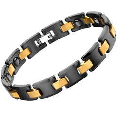 Urban Jewelry Men's Bracelet Chain Link Design – Contrasting Black and Gold Color – Made of Solid Tungsten and Ceramic Material - 8.3 inch (21 cm) 10mm Wide
