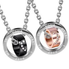 "Urban Jewelry Sparkle 2pcs His & Hers Heart Couples Jewelry CZ Double Ring Pendant Necklace Set with 19"" & 21"" Chains"