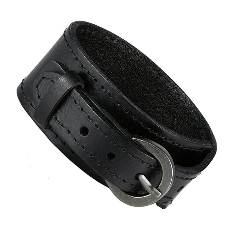 Urban Jewelry Black Genuine Leather Cuff Bangle Men's Bracelet (adjustable 7.1 to 9.05 inches)