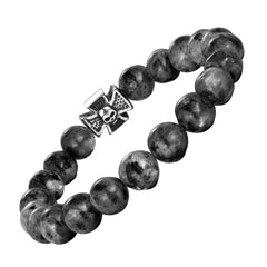 Bold Men's Bracelet – Black Beads with Silver Color Death's Skull and Cross Charm – Made of Black Marble & Polished Stainless Steel – Jewelry Gift or Accessory for Men